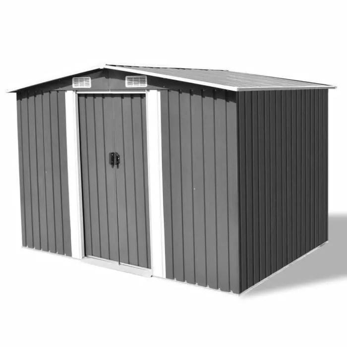abri de stockage pour jardin metal gris 257 x 205