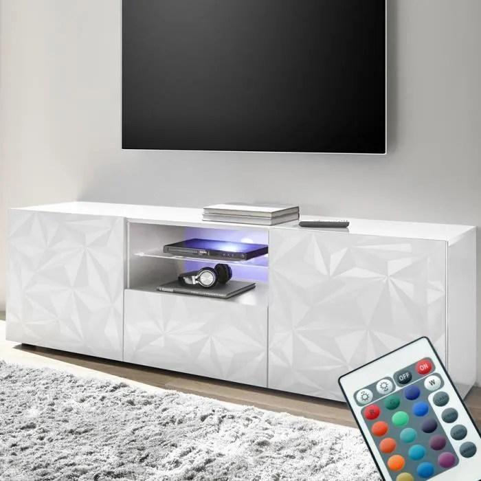 grand meuble tele lumineux laque blanc design paol