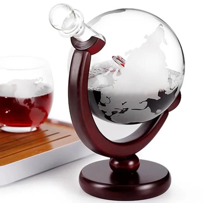 tlgv carafe decanteur de 850ml design de globe grave carafe a vin de whisky avec cadre en bois pour home bar j2y
