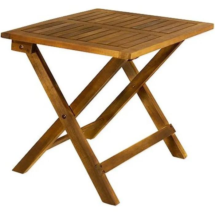 table basse pliante en bois tables jardin d appoint 46x46cm brun acacia