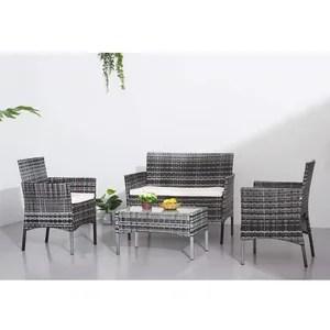 ensemble jardin 4 chaises 2 fauteuils table resine