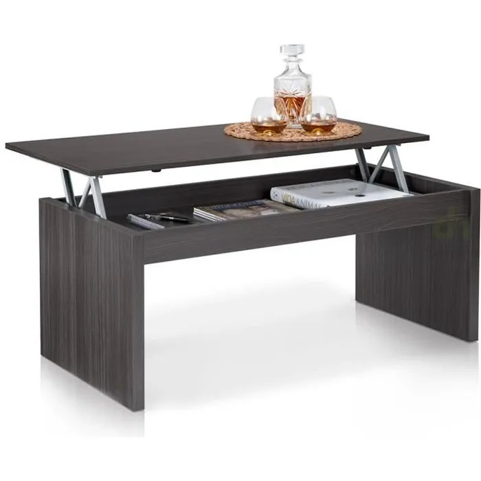 table basse plateau relevable grise
