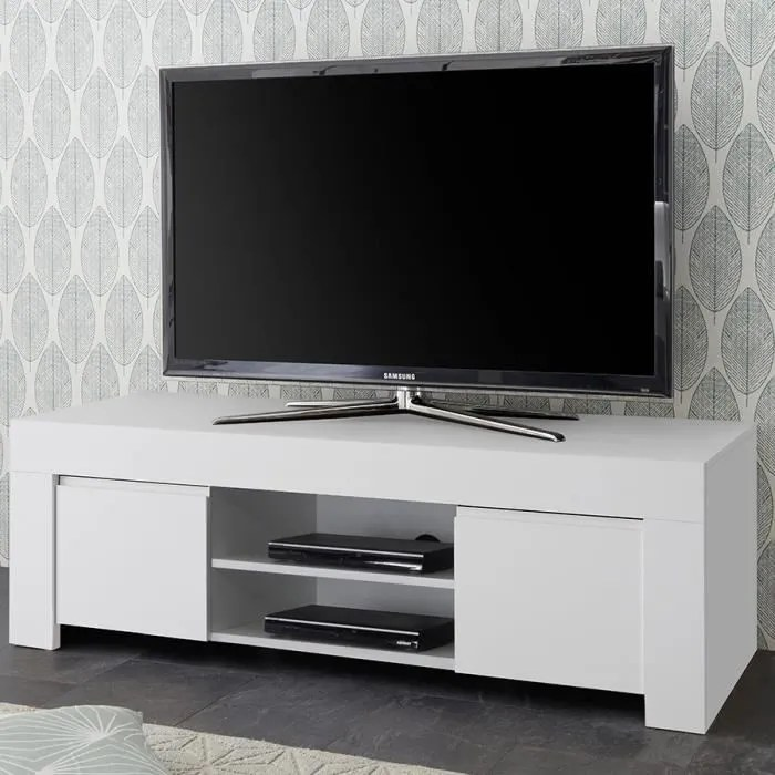 banc tv design blanc laque agathe blanc