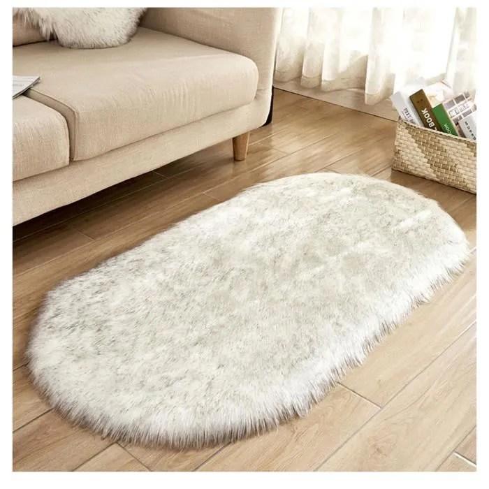 ovale tapis en imitation toison moquette antiderap