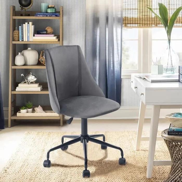 chaise de bureau velours metal gris anthracite noir reglable pivot home office moderne tendance design ergonomique confortable