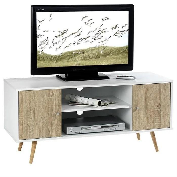 Meuble Tv Murcia Banc Tele 110 Cm Style Scandinave Design Vintage Avec 2 Niches Et 2 Portes Decor Blanc Mat Et Chene Sonoma Achat Vente Meuble Tv Meuble Tv Murcia