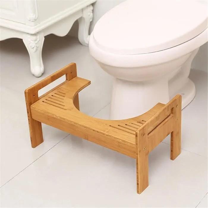 tabouret de toilette non slip en bambou toilette t
