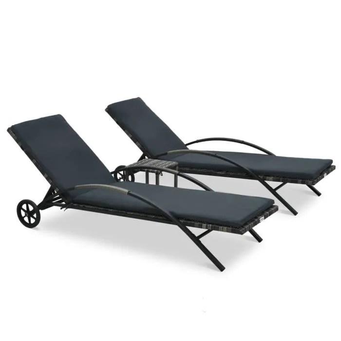 million chaises longues avec table resine tressee