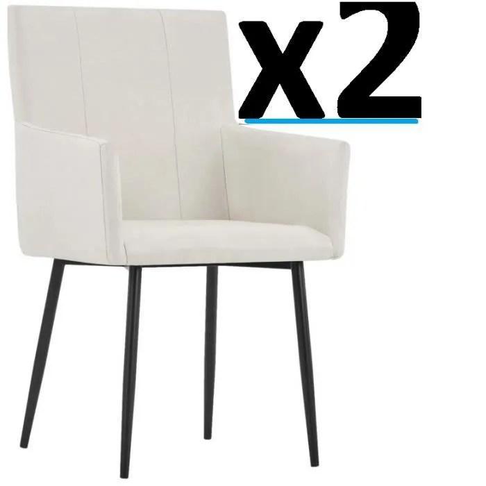 lot de 2 fauteuils chaises en tissu blanc avec pieds metal siege vintage design bureau salon cuisine salle a manger ensemble