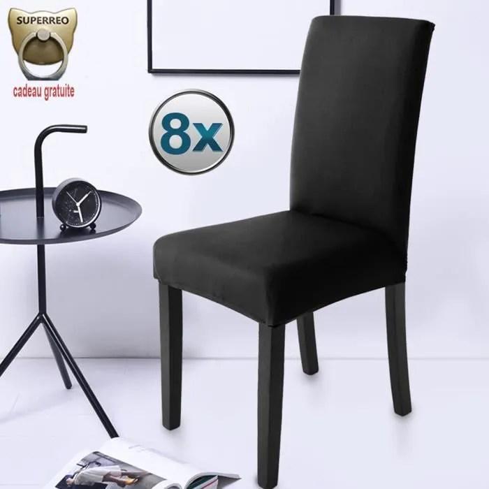 housse de chaise noir 8 pieces stretch couverture