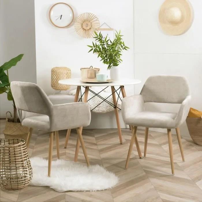 furnish1 lot de 2 fauteuils chaises tissu beige