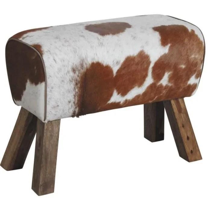 tabouret en peau de vache et bois