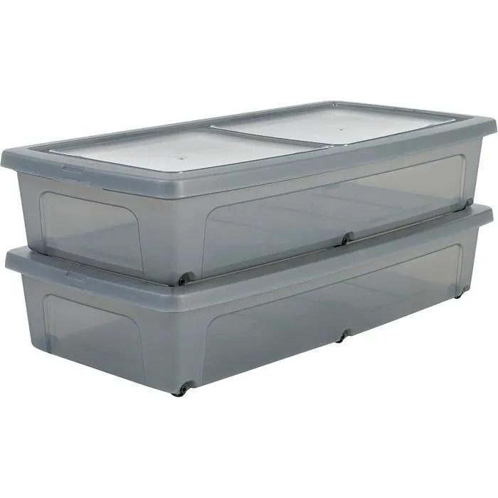 lot de 2 boites de rangement sous lit avec couvercle modular clear box mcb ub plastique gris 35 l 80 x 40 x 16 cm