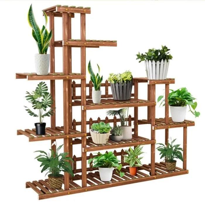 etagere pour plantes en bois support pot de fleurs en escalier decoration pour maison balcon jardin patio bureau 125x25x113cm