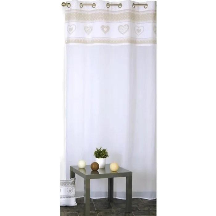 rideau voilage coeur lin beige 140 x 240 cm