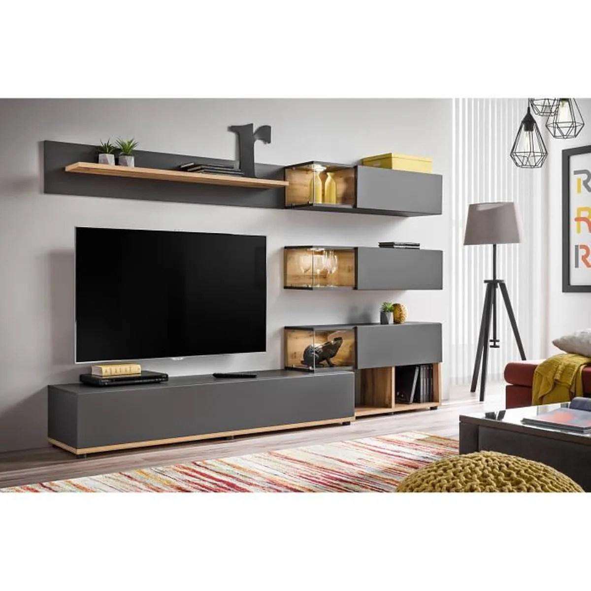 meuble tv mural silk coloris gris