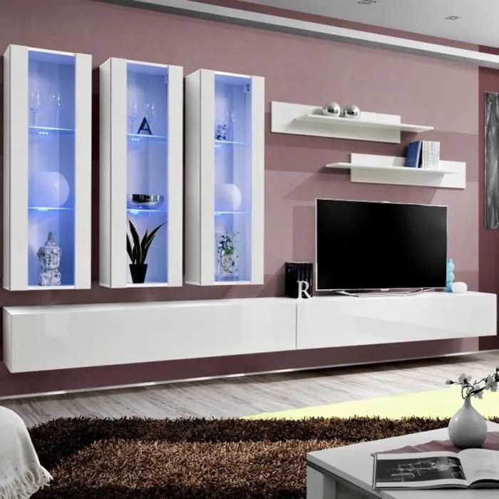 meuble tv avec rangement blanc piazza blanc l 320