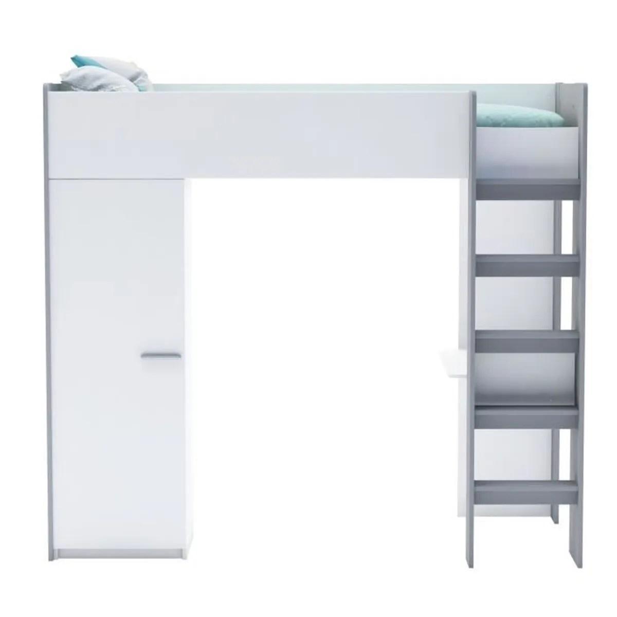 Filou Lit Mezzanine 1 Place Blanc Avec Bureau 90x200cm Blanc Achat Vente Lit Combine Filou Lit Mezzanine 1 Place Bl Cdiscount