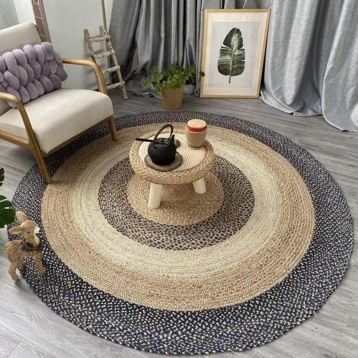 tapis jute naturel tapis rond 100 fibre de jute
