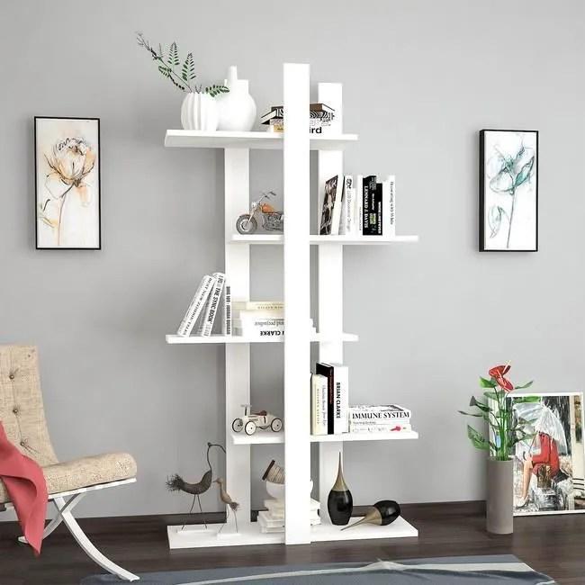 homemania bibliotheque denbi avec etageres meuble de rangement pour salon bureau blanc en bois 80 x 20 x 150 cm