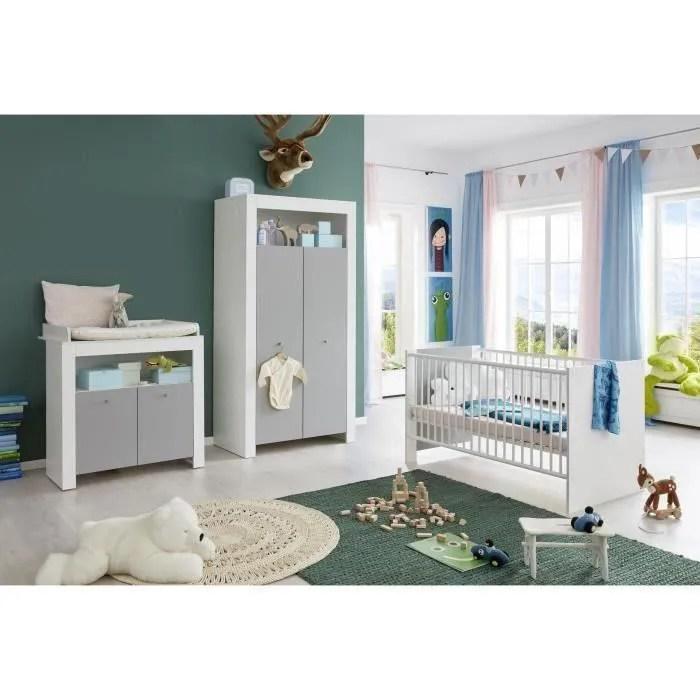 pia chambre bebe complete lit 70 140cm armoire commode blanc gris
