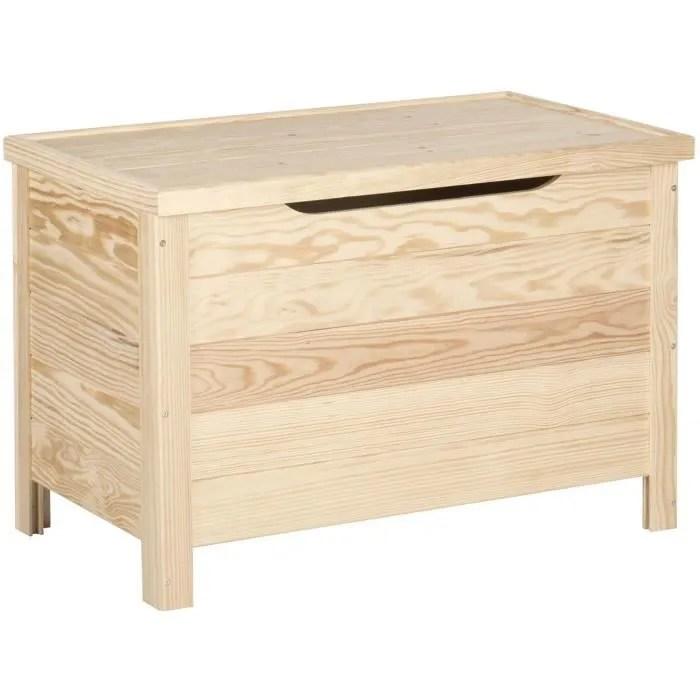 coffre de rangement pin massif 70 x 40 x 48 cm bois brut