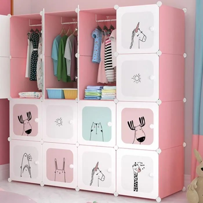 armoire chambre meuble rangement enfant 16 porte 3 penderie armoire plastique cartoon 147x37x147cm rose