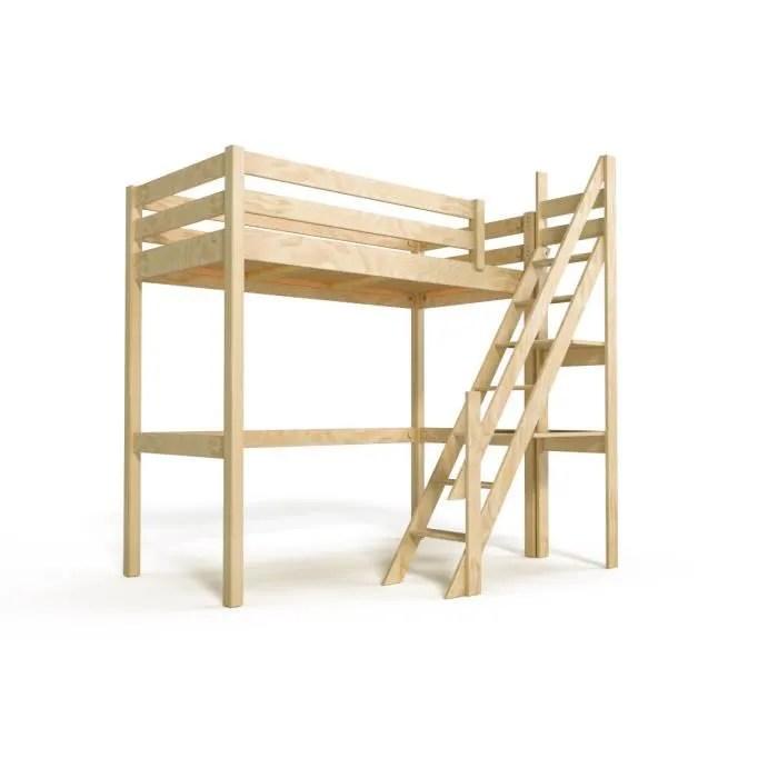 lit mezzanine sylvia avec escalier de meunier bois couleur brut dimensions 90x200