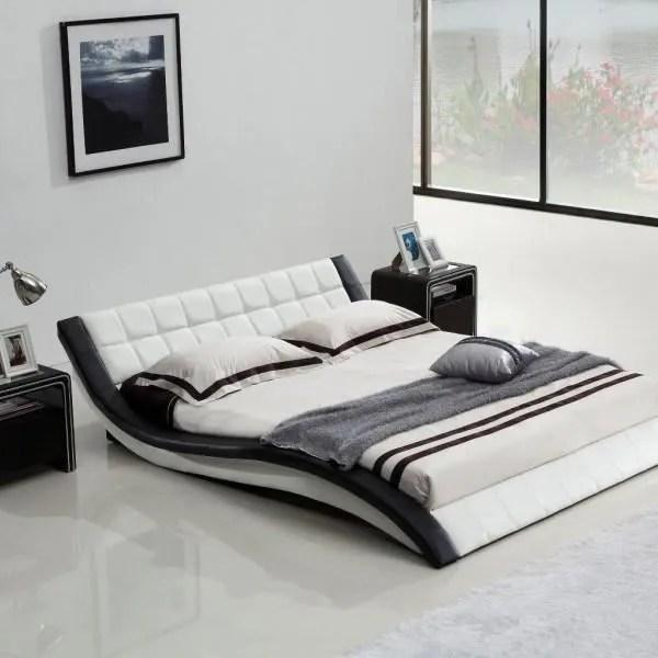 rafaelo noir blanc 200x200 structure de lit cadre simili cuir design contemporain