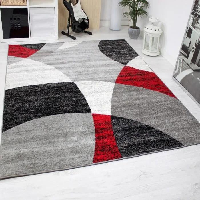 tapis pour le salon gris blanc noir et rouge