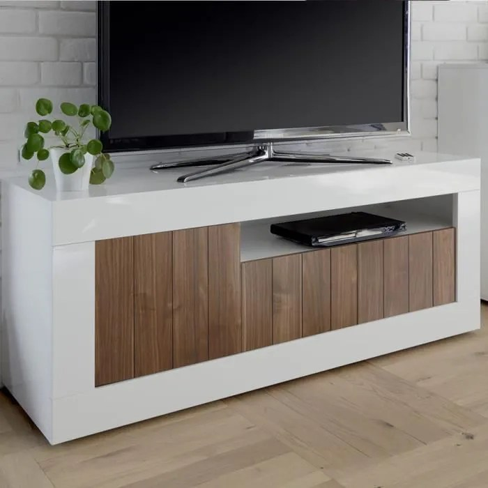 meuble tv moderne blanc et couleur noyer serena 4