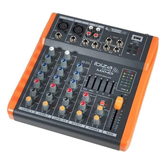 table de mixage console 4 canaux extra compacte usb ibiza sound mx401