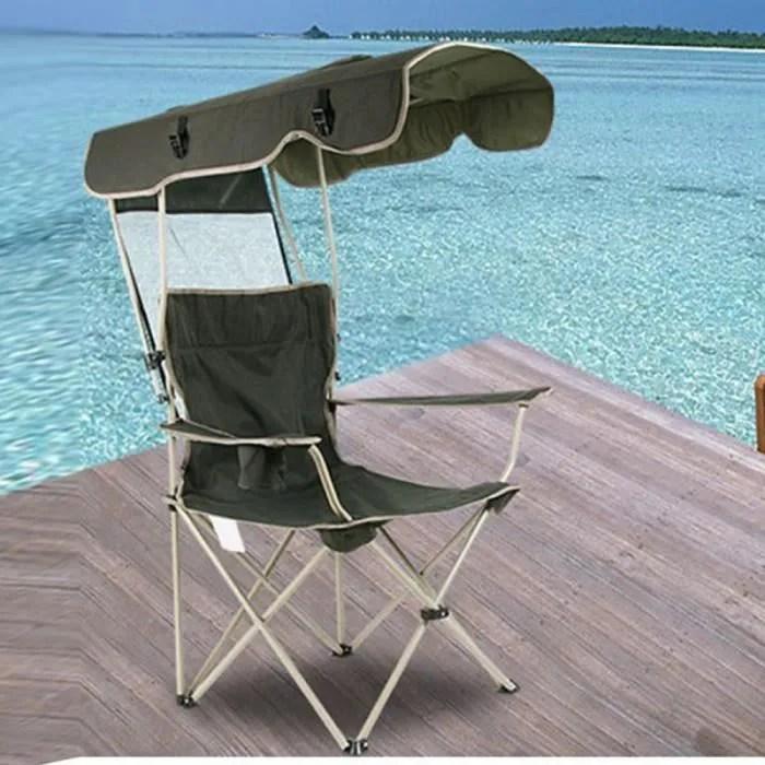 chaise longue de protection contre le soleil en plein air de peche portable multifonctionnel sur la plage avec parasol pli 317148