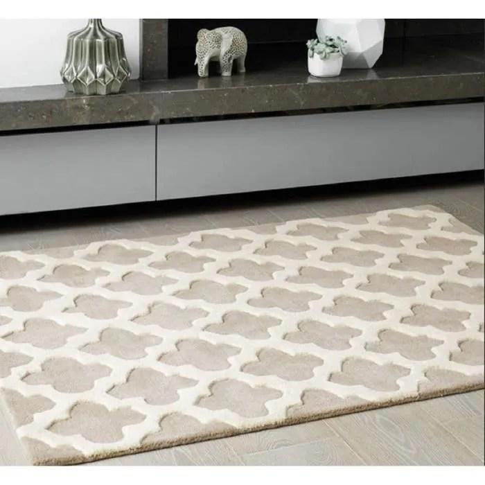 novatrend tapis de salon pure laine arch beige