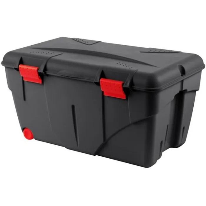 eda malle de rangement trafic avec couvercle 2 roulettes 85 l noir et rouge