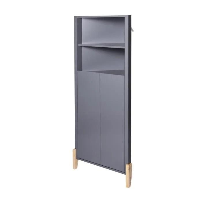 clark meuble d angle 2 portes gris l 70 x p 39 x h 150 cm