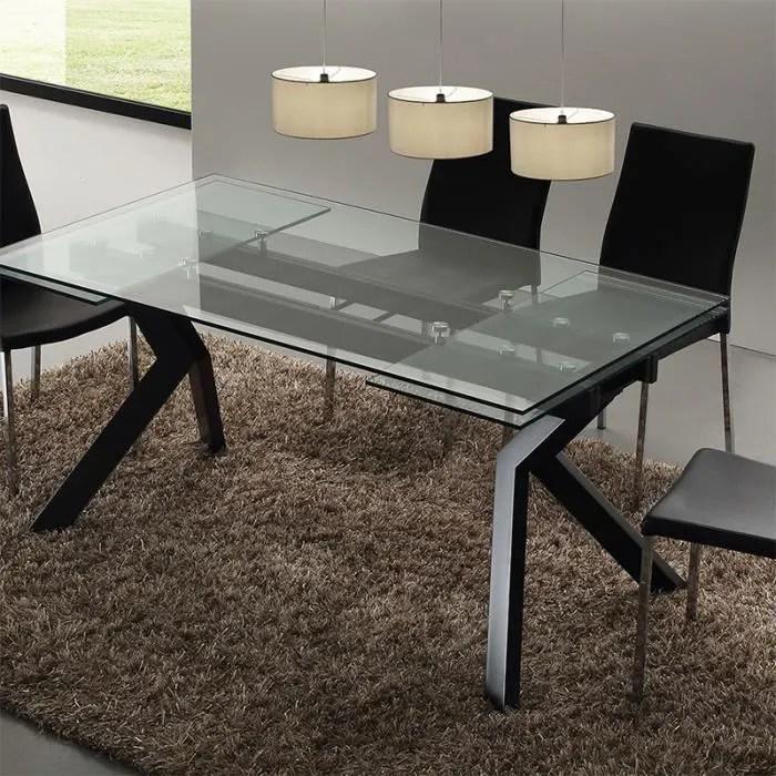 table en verre extensible taupe design aurelia noir