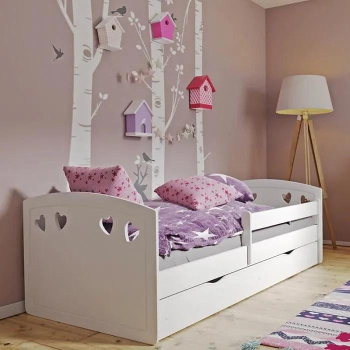 lit enfant avec barriere de securite derata 140x80 cm blanc avec tiroir de rangement