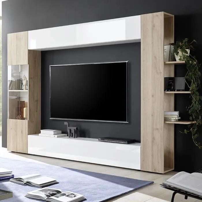 meuble tv mural blanc et chene soprano 3