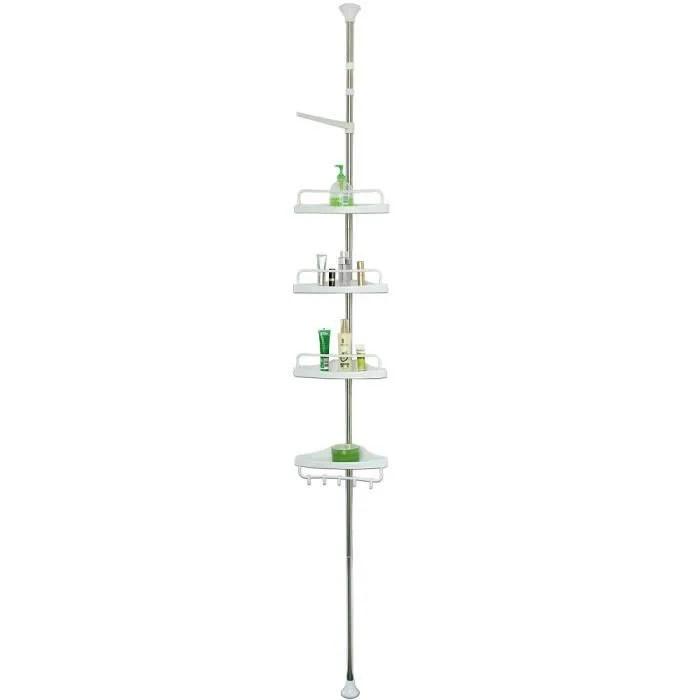etagere telescopique d angle de douche hauteur reglable 155 304 cm avec porte serviette savon bain douche