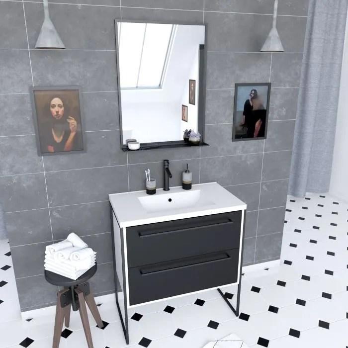 meuble salle de bain noir et blanc