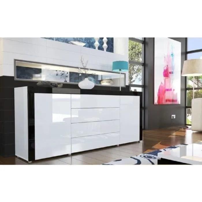 buffet design laque blanc blanc noir