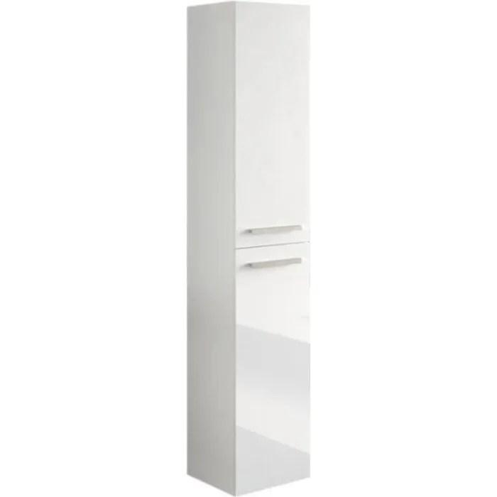 colonne salle de bain suspendue avec 2 portes coloris blanc laque 150 x 30 x 25 cm
