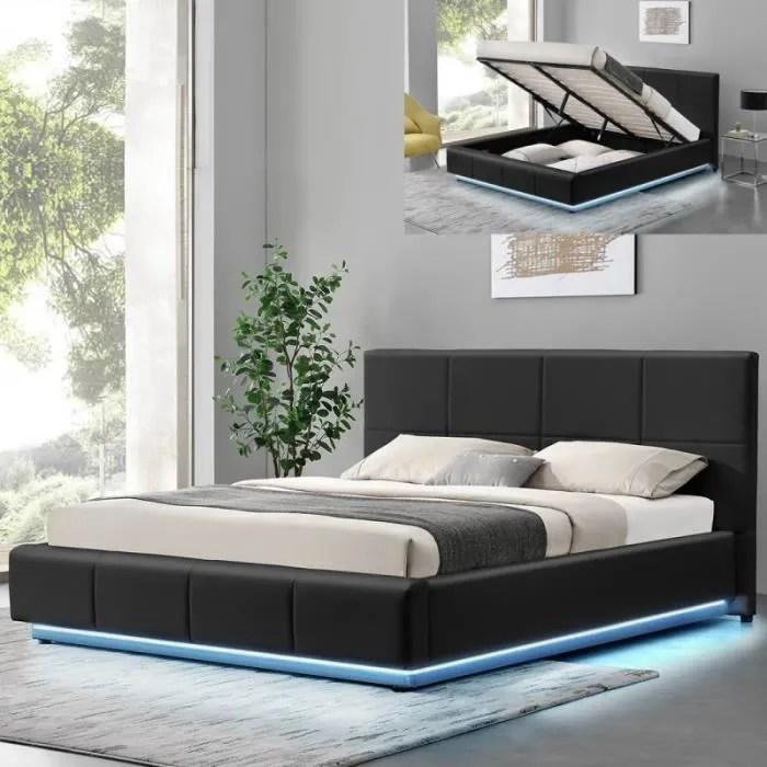 lit design alexi avec sommier et coffre de rangeme