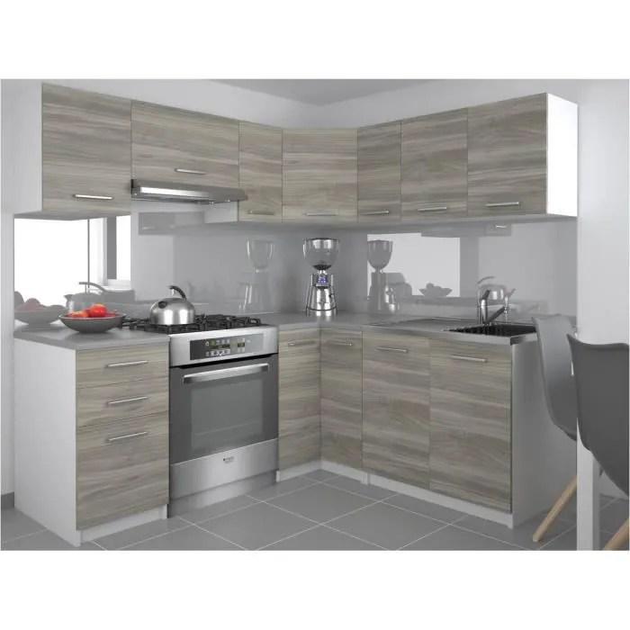 darcia cuisine complete d angle modulaire l 300 cm 9 pcs plan de travail inclus meubles cuisine aspect bois blanc