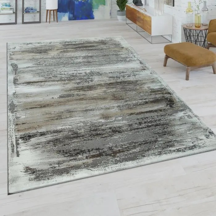 tapis de salon a poils ras moderne motif abstrait