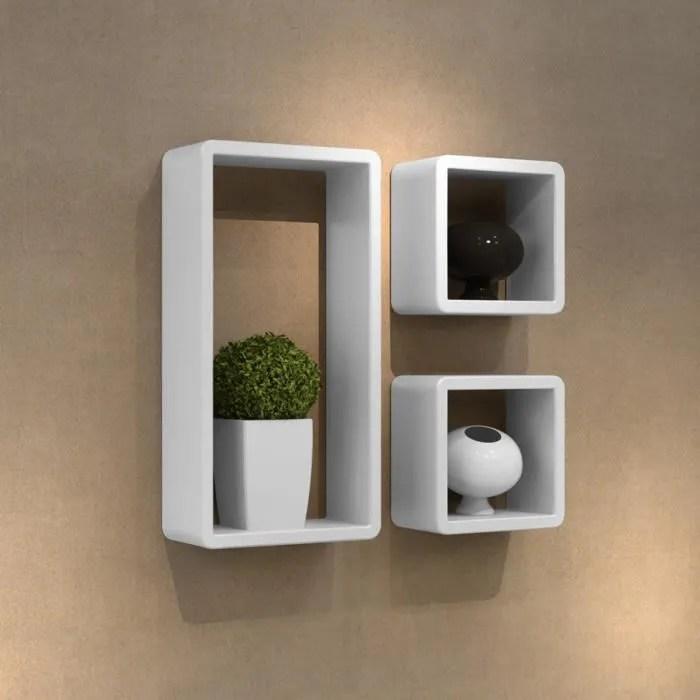 etageres design murale 3 cubes blanc mdf 42 x 22 x 10 design simple pratique salon haute qualite livres cd objets d art