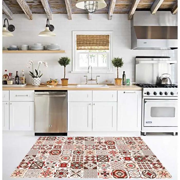 tapis trendy carreaux de ciment rouge marron anti