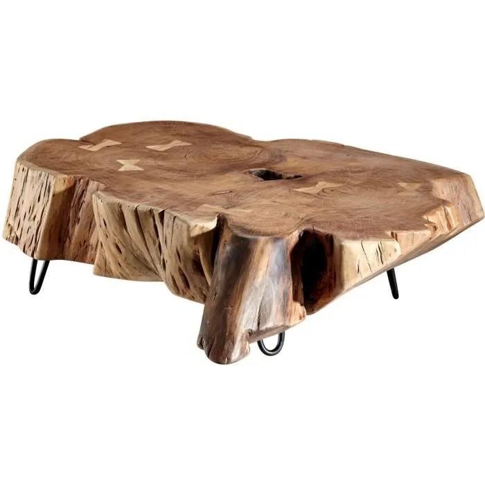 table basse marron rustique tronc d