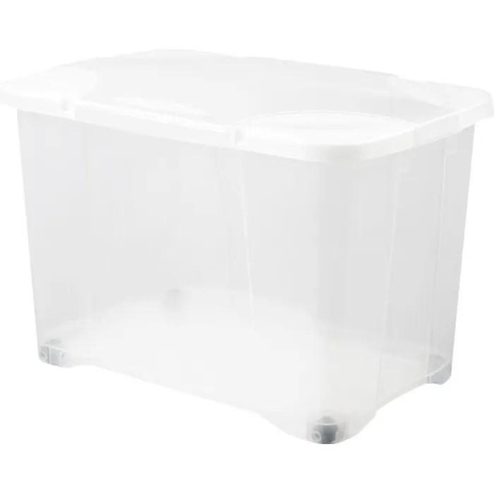 eda plastique boite de rangement clip box 60 l avec roulette naturel couvercle avec charniere 60 x 40 x 40 7 cm